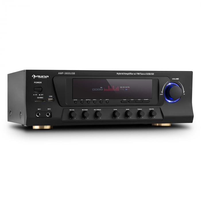 AMP-3800 USB 5.1 Channel Surround Receiver 600W max. USB SD FM Black