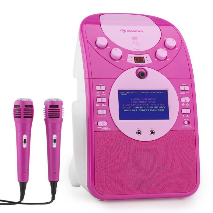 ScreenStar Impianto Karaoke Videocamera CD USB SD MP3 2 x Microfoni Rosa