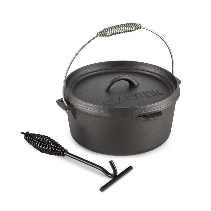 Klarstein Hotrod 85 Dutch Oven garnek żeliwny BBQ 9 qt/8,5l l czarny