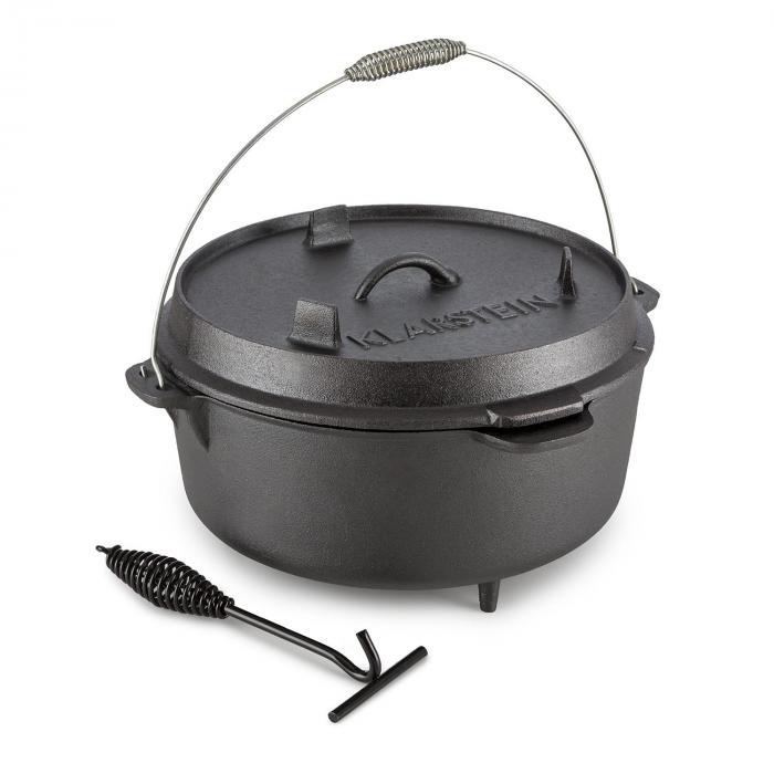 Klarstein Hotrod 145 Dutch Oven garnek żeliwny BBQ 12 qt/11,4 l czarny
