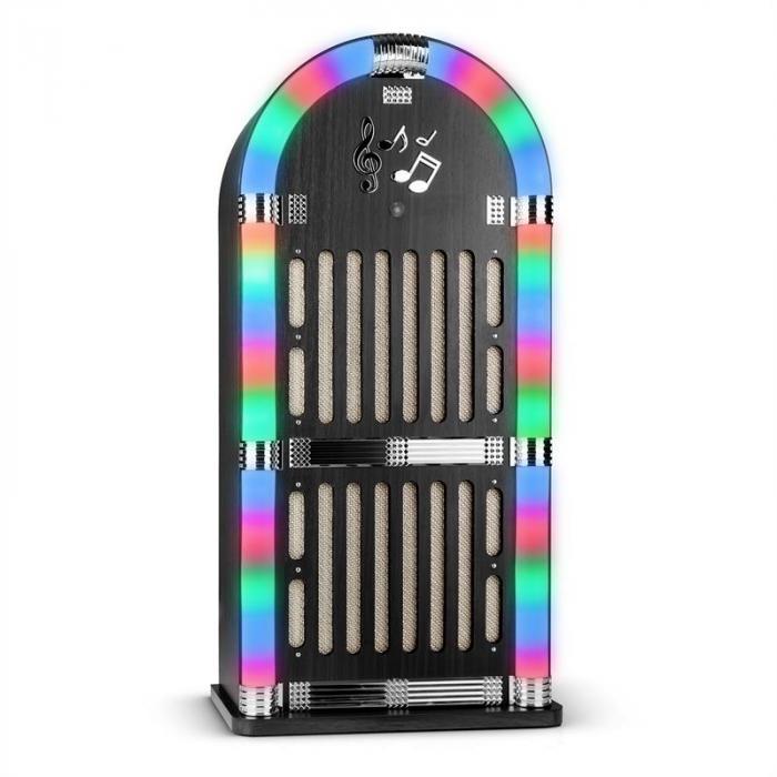Memphis WD Jukebox Bluetooth UKW 2 x AUX LED-Lichteffekt Holz