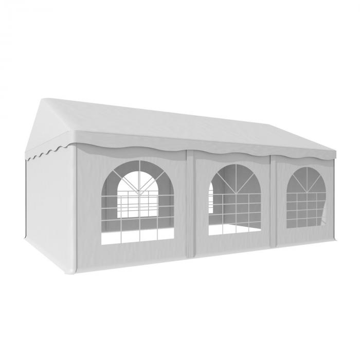 Sommerfest 4x6m500 g/m² juhlateltta PVC vaikeasti syttyvä, valkoinen
