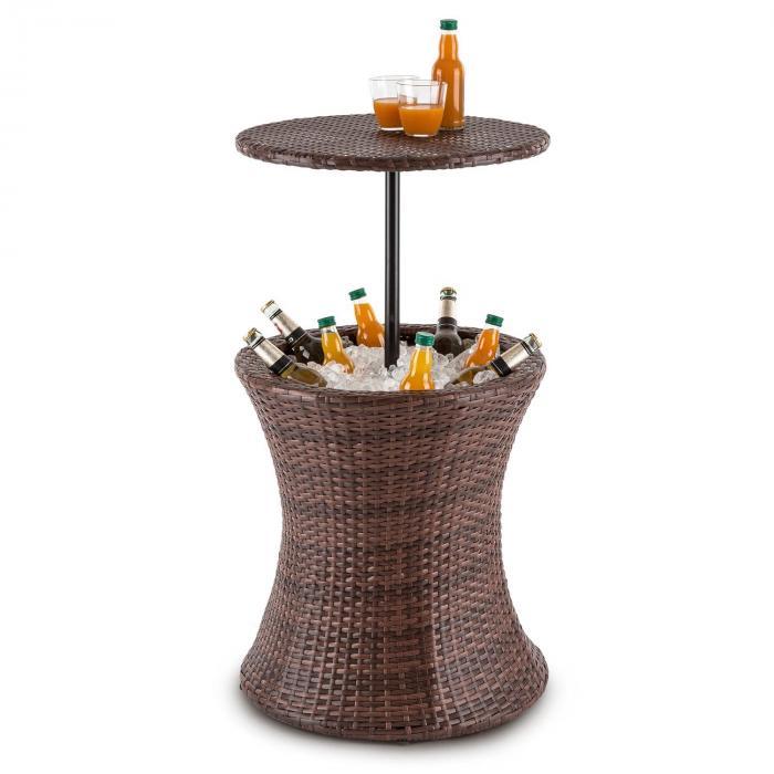 Beerboy mesa de jardim e compartimento geleira de bebidas Ø50cm Polyrattan bicolor castanho