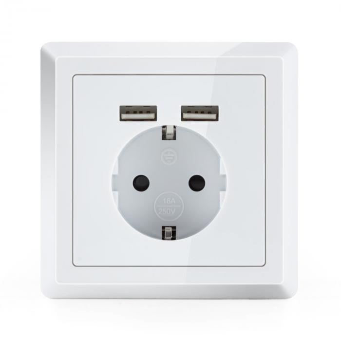 WS-2 USB Mains Outlet 2 x USB Port Concealed Installation Wall Mounting