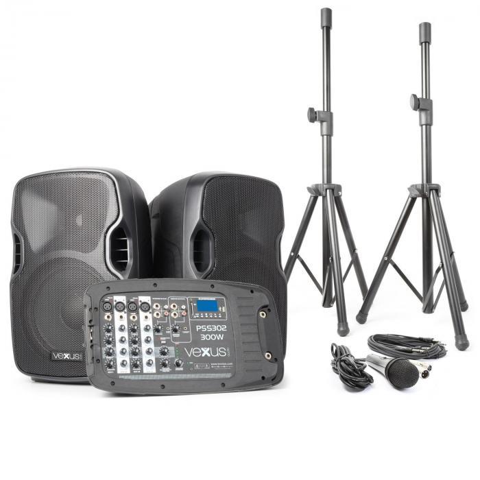 Vexus PSS302 mobilny system PA audio maks. moc 300WBluetooth USB SD MP3 2 x statyw