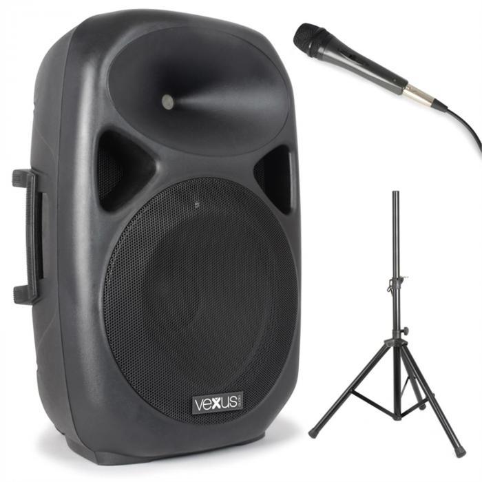 Vexus SPS152 zestaw głośnikówPA maks. 600 watówBluetooth USB SD MP3 AUX statyw mikrofon