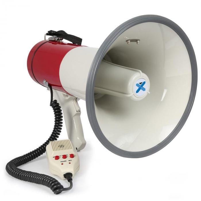 Vexus MEG050 megafon 50W funkcja nagrywaniasyrena mikrofon zasilanie z baterii pasek