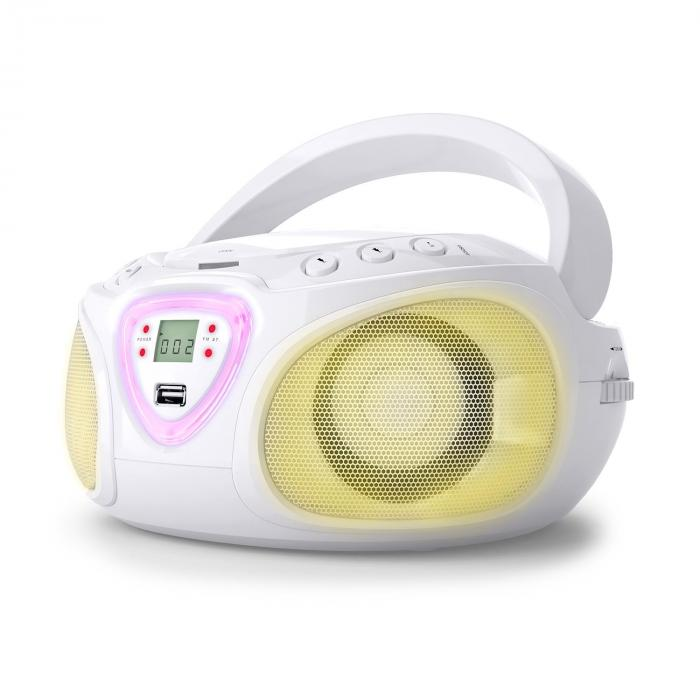 Roadie Boombox CD USB MP3 MW/UKW-Radio Bluetooth 2.1 LED-Farbspiel weiß