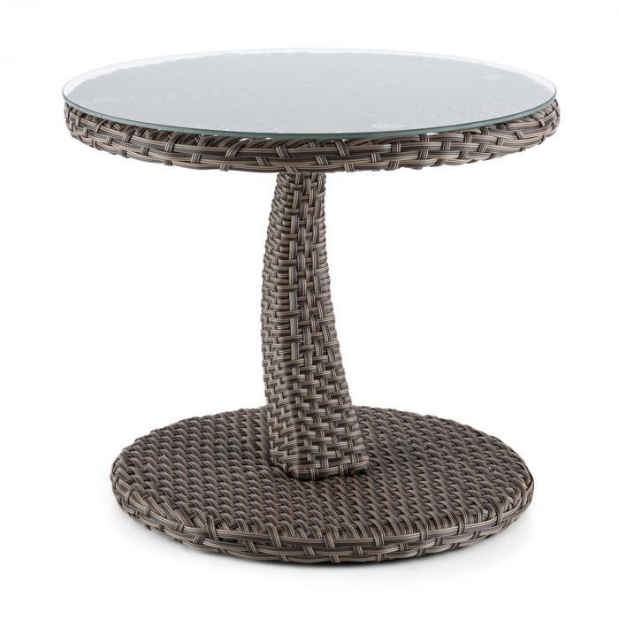 Tabula pöytä 50 cm lasia polyrottinki alumiini kaksivärinen ruskeanharmaa