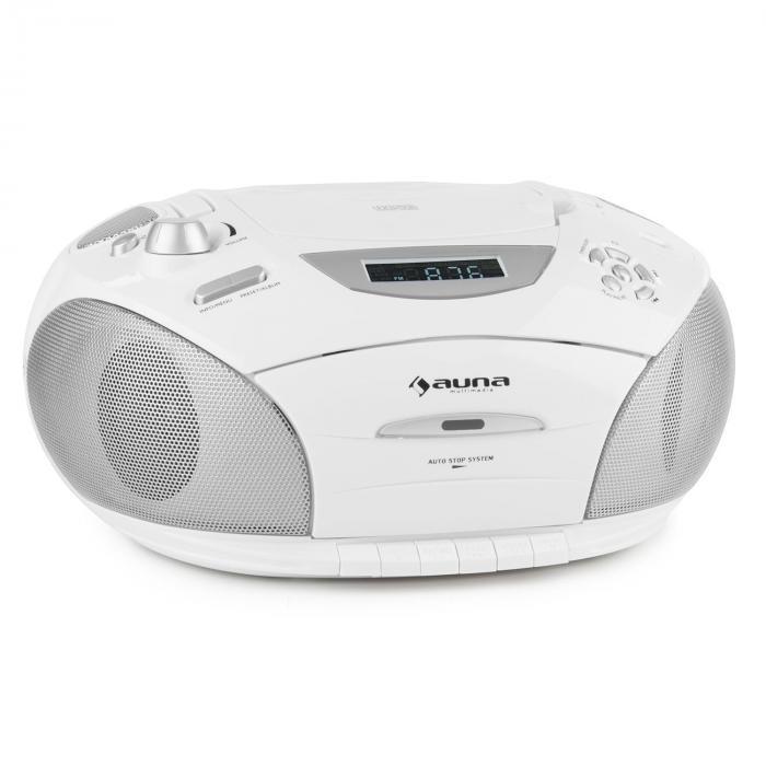 RCD220 Boombox CD USB kasettidekki PLL-UKW-radio MP3 2x2W valkoinen