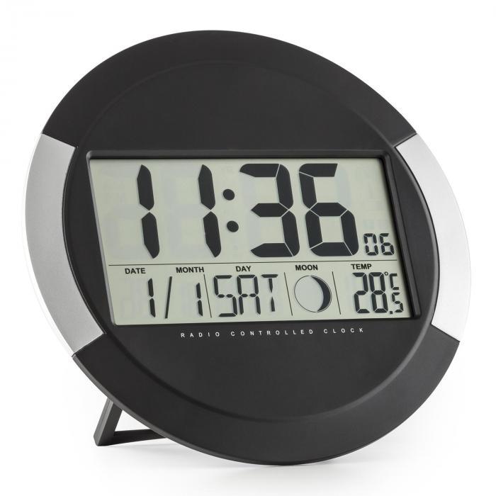 OneConcept Clockwork cyfrowy zegar ścienny sterowany radiowo termometr kalendarz faza księżyca podpórka