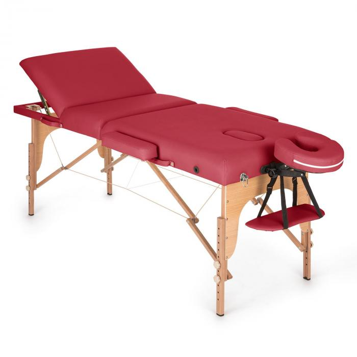 MT 500 Massage Table 210 cm 200 kg Foldable Fine Cell Foam Bag Red