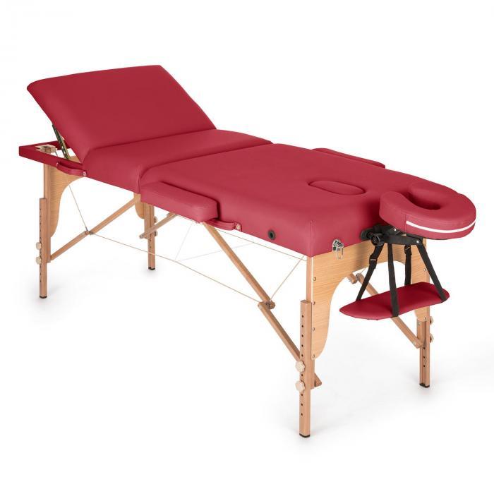 KLARFIT MT 500 stół do masażu 210 cm 200 kg składany pianka drobnokomórkowa torba czerwony