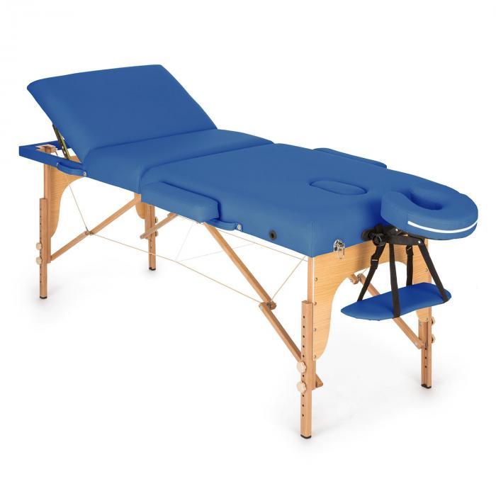 KLARFIT MT 500 stół do masażu 210 cm 200 kg składany pianka drobnokomórkowa torba niebieski