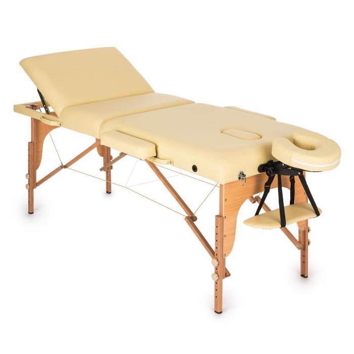 KLARFIT MT 500 stół do masażu 210 cm 200 kg składany pianka drobnokomórkowa torba beżowy