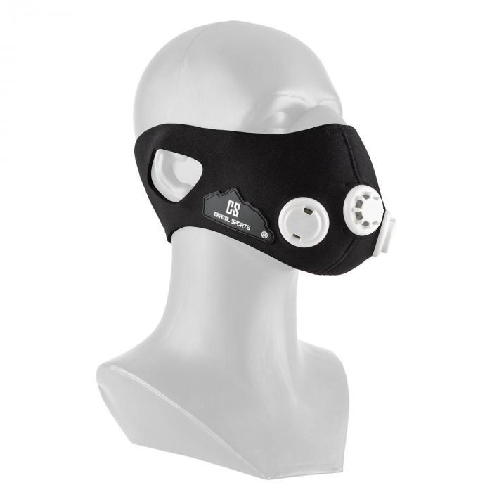 Capital Sports Breathor maska treningowa wysokogórska 7 nasadek rozmiar M czarna