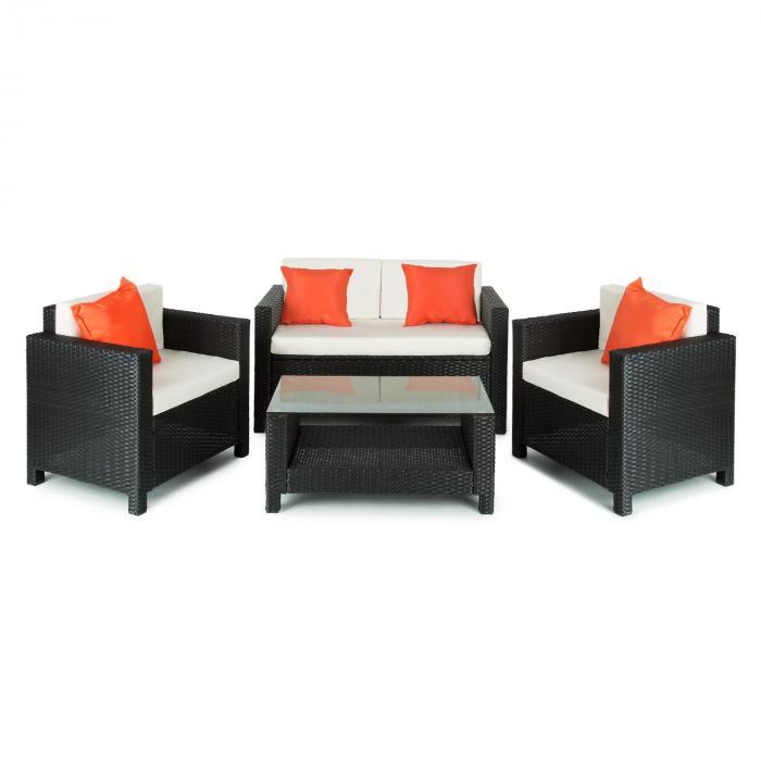 Verona Gartengarnitur 4-teilig Polyrattan Schwarz/Beige/Orange
