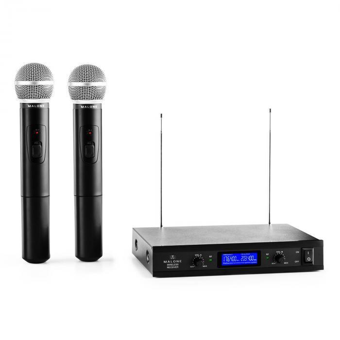 VHF-400 Duo 1 2-kanavainen langaton VHF-mikrofoni 1 x vastaanotin + 2 x käsimikrofoni