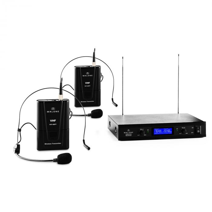VHF-400 Duo 2 2-Channel VHF Wireless Microphone Set 1x Receiver + 2x Headset