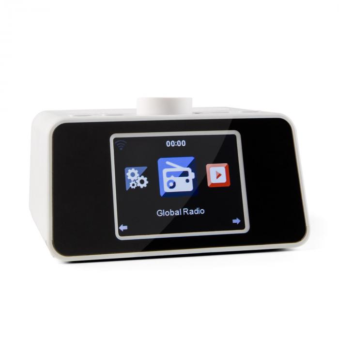 "i-snooze Internet clock radio WLAN USB AUX 3.2"" TFT Color Display white"