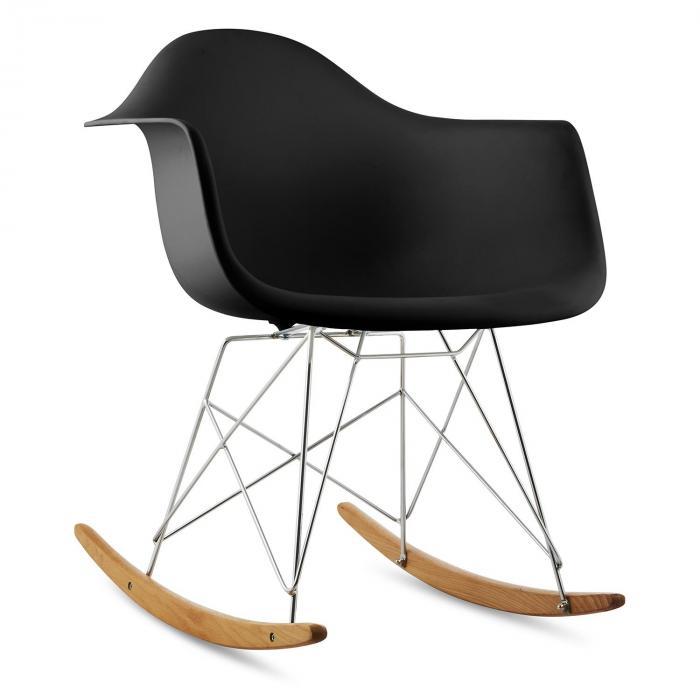 OneConcept Aurel Fotel bujany w stylu retro siedzisko z polipropylenu drewno brzozowe czarny