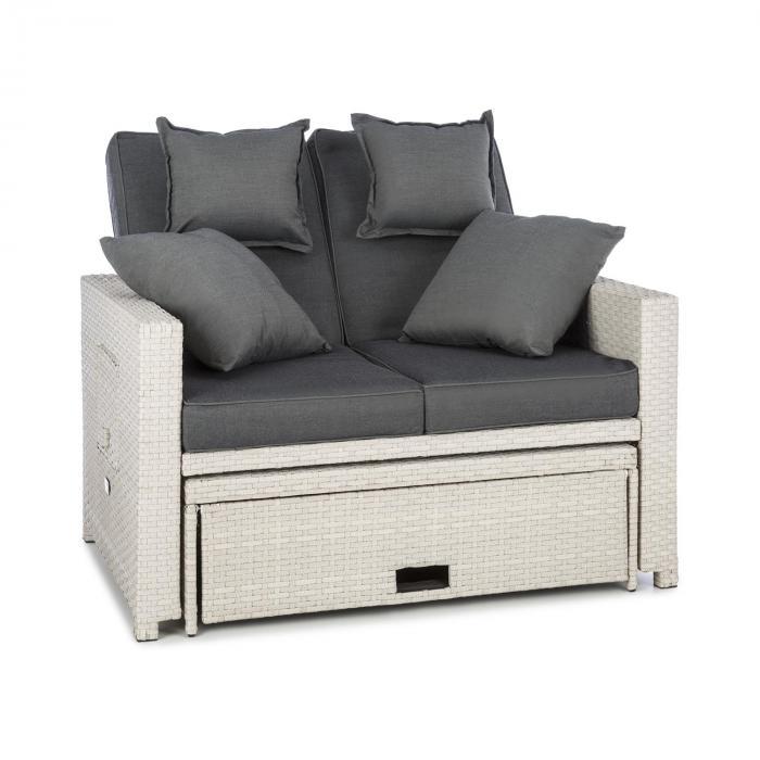 Komfortzon Rotting-Lounge-Soffa 2-sits polyrotting uppfällbara sidobord vit