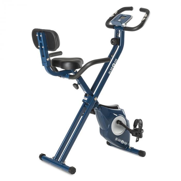 KLARFIT Azura Pro X-Bike trenażer domowy do 100 kg miernik tętna składany 3 kg niebieski