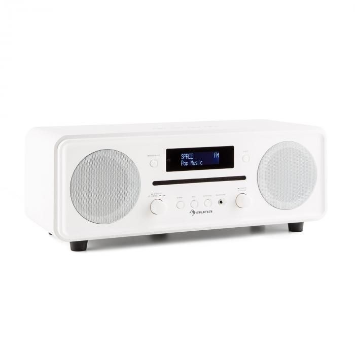 Melodia CD DAB+/OUC Desktop Radio Lettore CD Bluetooth Alarm Snooze bianco
