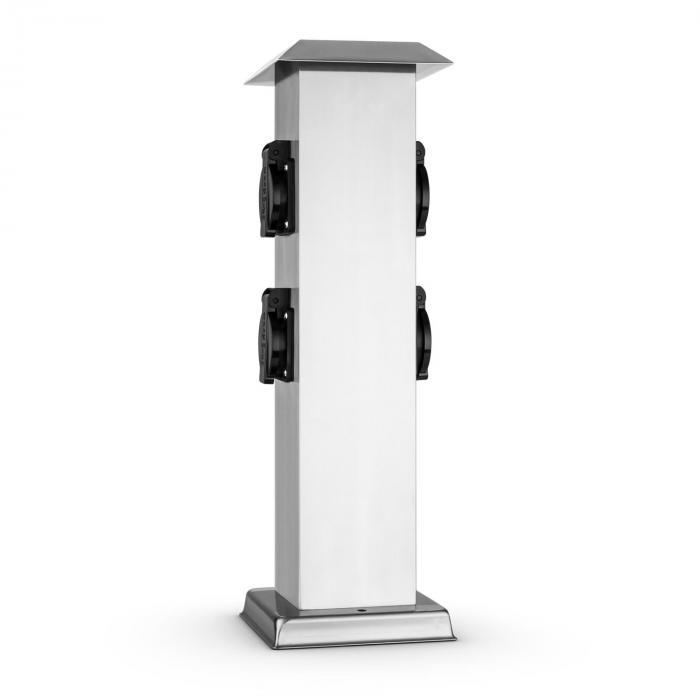 plug 4 play square colonne de 4 prises lectriques carr e inox electronic star fr. Black Bedroom Furniture Sets. Home Design Ideas