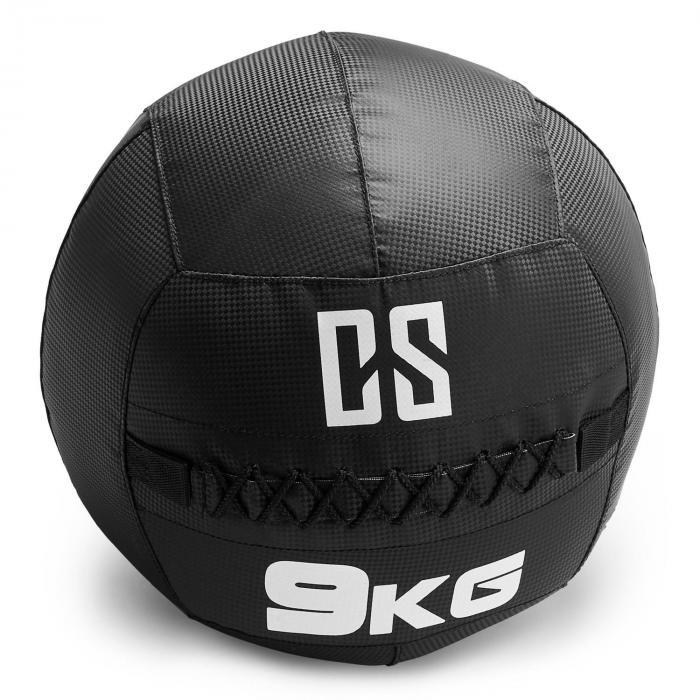 Bravor wall ball medicijnbal PVC dubbele naden 9 kg - zwart