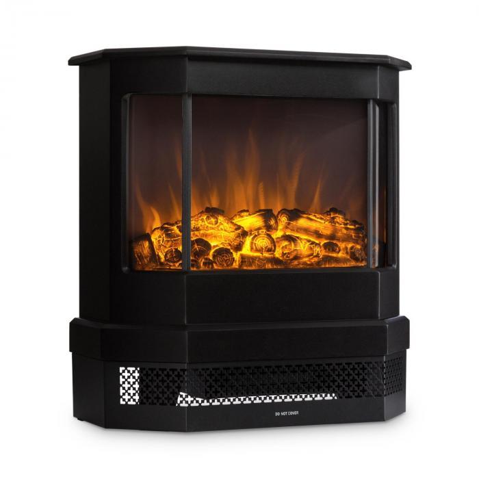 Castillo Elektrischer Kamin Halogen Flammensimulation Schwarz