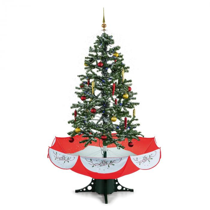 Everwhite Red Albero Di Natale Con Neve 180cm Rosso