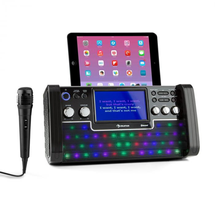 "DiscoFever Bluetooth equipo de karaoke LED pantalla 7"" CD USB negro"