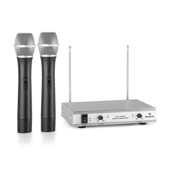 VHF-2-H 2-kanavainen VHF-radiomikrofonisetti 2 x käsimikrofoni 50 m