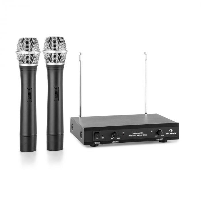 Auna Pro VHF-2-H 2-kanałowy radiowy zestaw mikrofonowy VHF 2x mikrofon ręczny zasięg