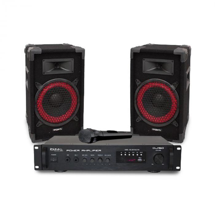 """DJ150 Disco Sound Set Amplificatore PA 19"""" 2 x Altoparlanti 150W"""