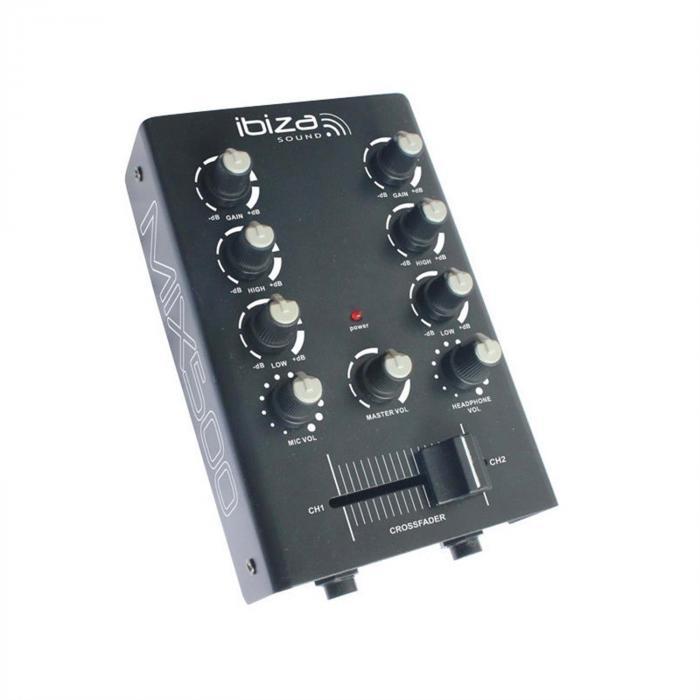 MIX500 Console di mixaggio Mini 2 canali Equalizzatore 2 bande nero