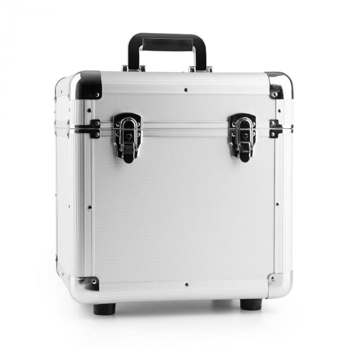 Power Dynamics RC100 Aluminiowa walizka na płyty winylowe (na 100 płyt o rozmiarze 12 cali) srebrna