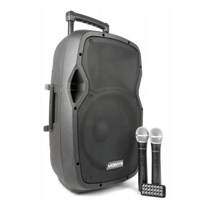 "AP1200PA mobiele PA installatie 30 cm (12"") bluetooth USB SD MP3 VHF accu"