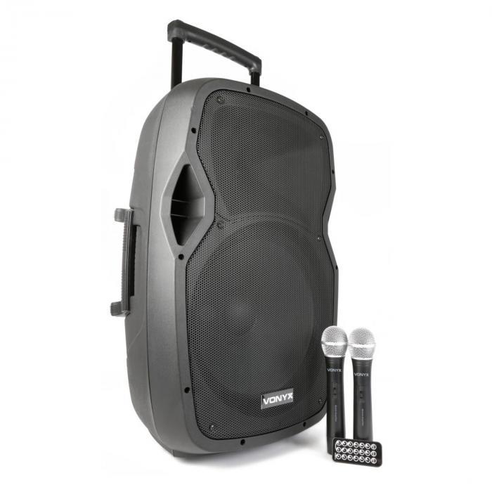 "AP1500PA kannettava PA-laitteisto 38 cm (15"") bluetooth USB SD MP3 VHF akku"
