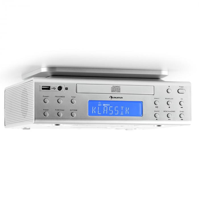 KRCD-150 Kitchen Under-Counter Radio CD USB AUX FM RDS Alarm Remote Control Silver