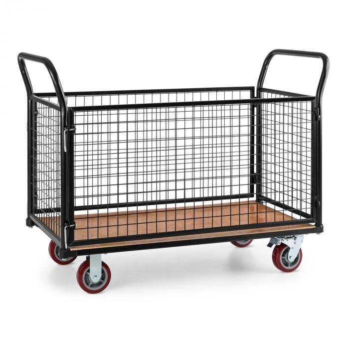 Waldbeck Loadster wózek platformowy magazynowy osiatkowany maks. 500kg drewniana platforma czarny