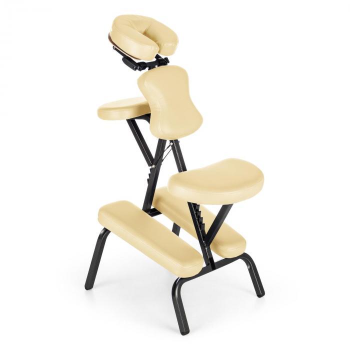 KLARFIT MS 300 fotel do masażu/tatuowania, obciążenie 120 kg torba transportowa kolor beżowy