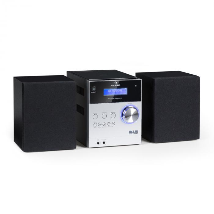 MC-20 Mikrowieża stereo DAB+ Bluetooth pilot srebrna