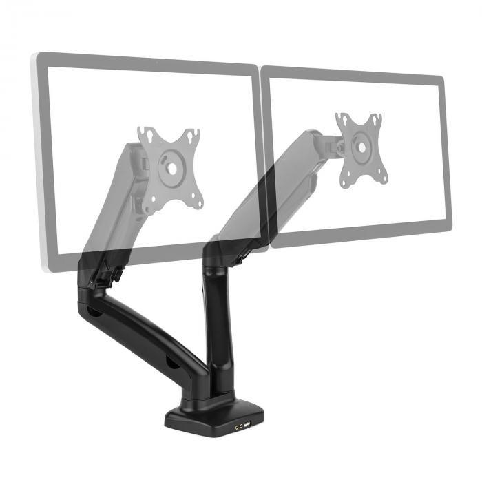 """LDT13-C024USB Doppio Supporto da Tavolo Monitor LED LCD 27"""" 2x6.5kg"""