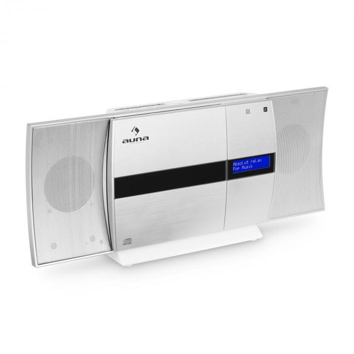 V-20 DAB Vertikal-Stereoanlage Bluetooth NFC CD USB MP3 DAB+ silber-weiß