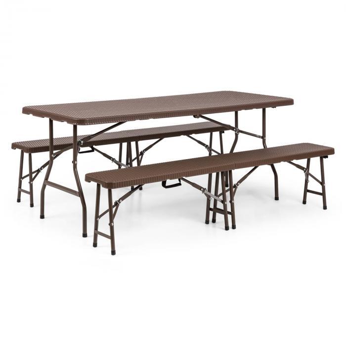 BurgosMuebles de carpa cervecera 3 piezas mesa + 2x bancos acero HDPE plegables marrón