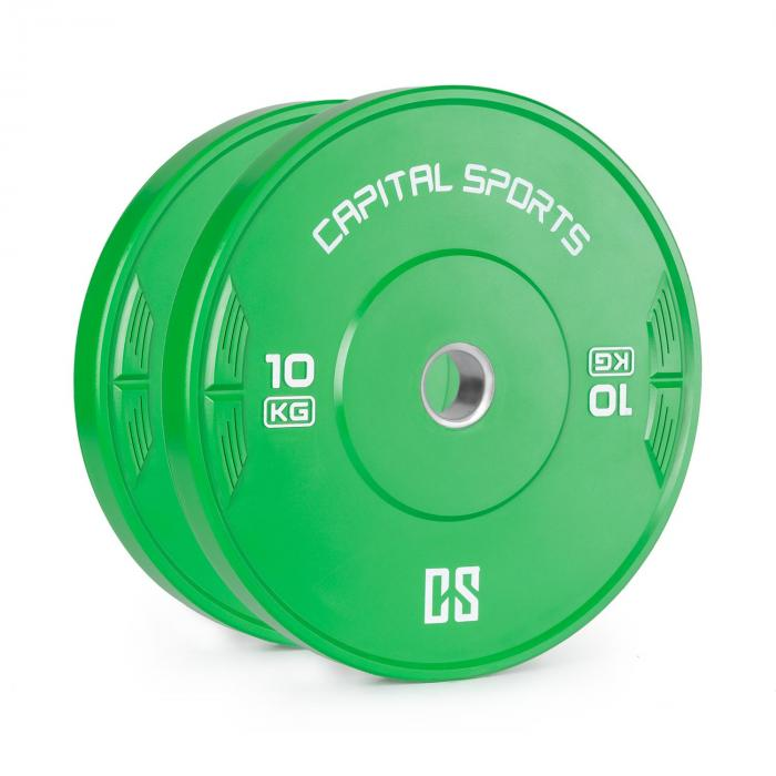 Nipton Bumper Plates Dischi Peso 10kg verde Gomma Dura