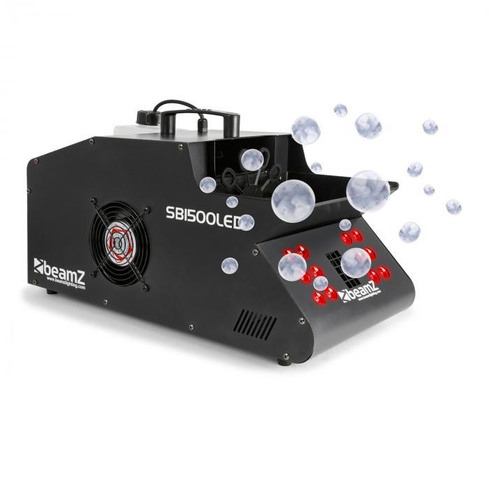 Beamz SB1500LED Wytwornica mgły/baniek mydlanych 1500 W zbiornik 1,35 l diody LED RGB DMX