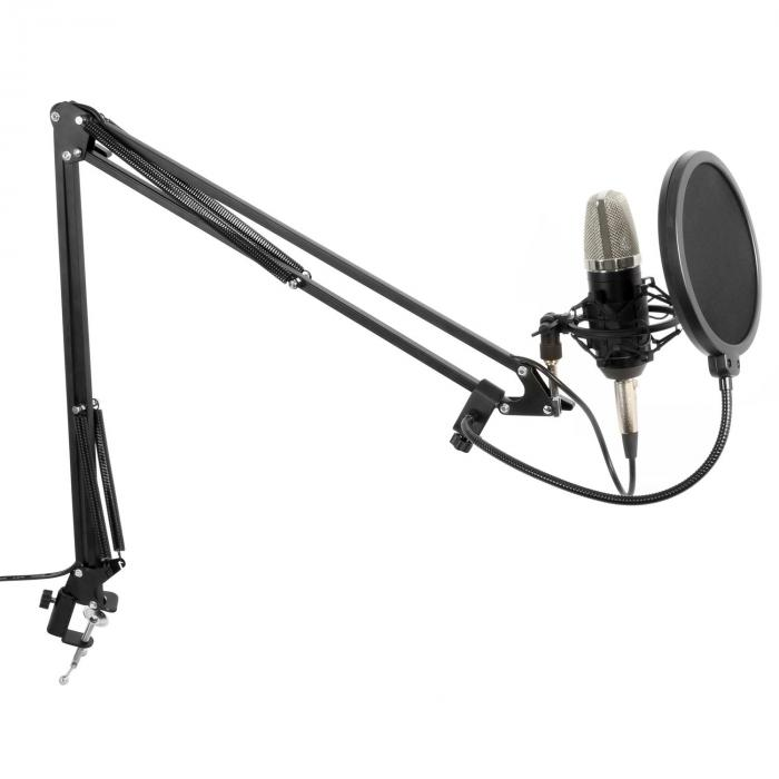 Studio Set Großmembran Mikrofon inkl. Tischarm, Spinne, Windschutz, Kabel